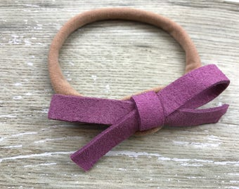 Purple Thicker Suede Bow, Headband, Baby Headband