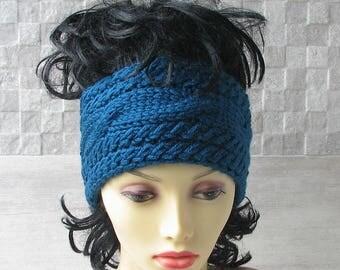 Blue Winter Headband Hand Knit Headband, Ear Warmer, Cable Knit Headband for Women, Christmas Gift Turquoise
