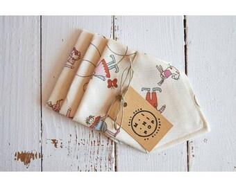 Child hankies printed organic cotton, set of 3 washable handkerchiefs, zero waste
