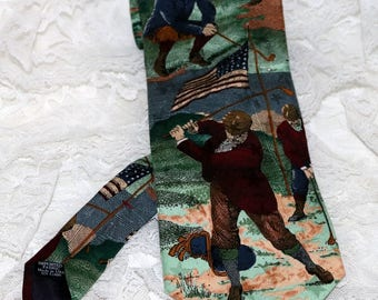 "Vintage Tango by  Max Raab Men's Tie  - Americana Series  - ""Fore"" Circa 1908 - 100% Silk - Made in USA"