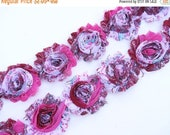 """ON SALE 30% OFF 2.5"""" Printed Shabby Rose Trim - Pink Peacock - Chiffon Trim - Pink Shabby Rose Trim - Chiffon Trim - Hair Acessories Supplie"""