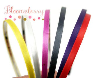 6 pcs Satin Metal Headbands - Size 5mm -Assorted/Mixed Color -Wrap Headband -Birthday/Crafts -One Size Fit Most -Hair Accessories Supplies