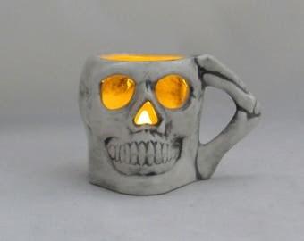 Ceramic Small Skull Mug Candle Holder - 2.75 inches tall
