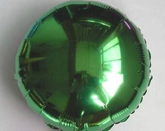 Balloon round Mylar Green Aluminum Metal 45cm