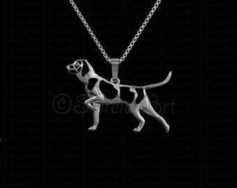 Pointing Bracco Italiano - sterling silver pendant and necklace