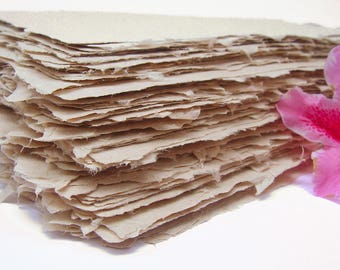 Handmade papers, natural abaca, deckle edge, beige color, letter size, set of 10