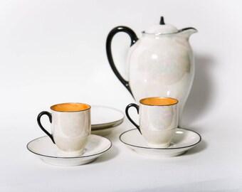 Antique Haviland France Porcelain Tea Set 7 Piece Pearlized