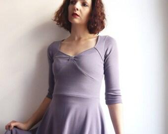Size XL (44) gray purple cotton jersey dress