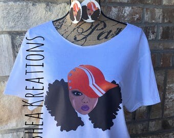 Hat Day Afro Lady T-shirt Tee, Matching Earrings Set, Limited Edition