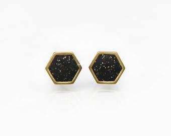 Black Sparkle Geometric hexagon stud earrings
