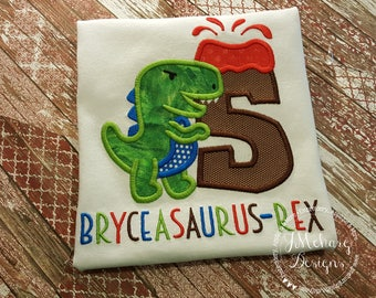Dinosaur & Volcano Embroidered Birthday Shirt - Customizable -  Infant to Youth 1a