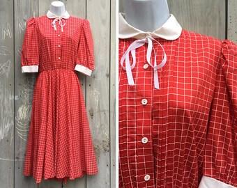 Vintage dress | 1980s schoolgirl red and white checked full skirt dress