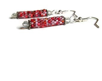 Multi-Red Bead Stitched Dangle Earrings with Crystals, Free Shipping in the U.S.
