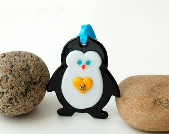 Fused Glass Penguin Ornament