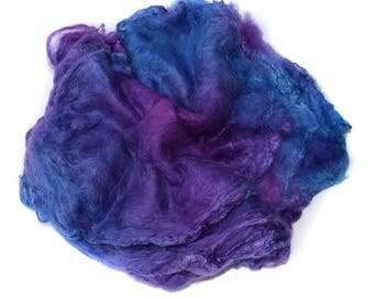 SILK HANKIES - Hand Dyed - Mawata squares - Mulberry silk - 10g - Purple - blue