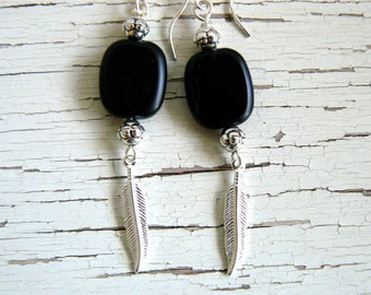 Black and Silver Feather Earrings, Small Silver Feather, Black Glass Beaded Drops, Southwestern Jewelry, Boho Dangles