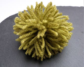 Big Meadow Green Pompom 80mm, 3.15 inches Wool And Acrylic Mix Yarn