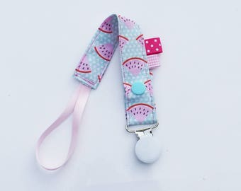 Pacifier clip - watermelon - pink - Mint pattern fabric-