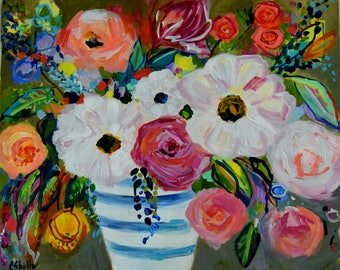 """Large Bold Abstract, Floral Still LIfe, Bright Bouquet, Ginger Jar, Flowers,  Framed Original Painting, 24"""" x 30"""""""