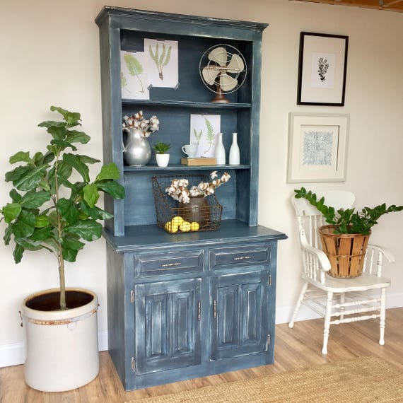 Farmhouse Hutch - Fixer Upper Furniture - Blue Cabinet - Farmhouse Furniture - Antique China Hutch - Country Cottage Furniture