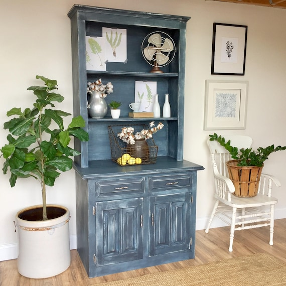 Farmhouse Hutch - Shabby Chic Furniture - Rustic China Hutch - Blue Cabinet - Distressed Furniture - Kitchen Hutch Cabinet - Country Hutch