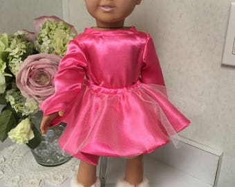 Hot pink satin ballerina or skating outfit