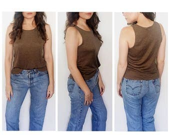 Vintage brown tank top / stretch ribbed sleeveless top / minimalist ribbed top