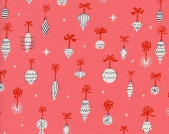 Christmas Fabric - Garland - Cotton + Steel - Christmas Ornament Fabric - Quilt Fabric By The Yard - Choose Your Color - Pink, Blue, Red