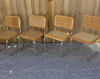 4 Vintage Cesca Chairs Chrome Cantilever Chair Cane Seat Marcel Breuer Style Mid Century Modern Light Beech Finish