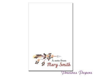 Personalized tribal arrow notepad floral aarrow notepad