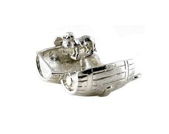 Sterling Silver Opening St Bernard Dog In Barrel Charm For Bracelets