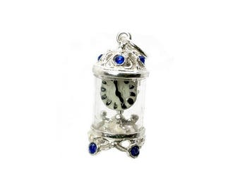 Sterling Silver Jewelled Blue Carriage Clock Charm For Bracelets