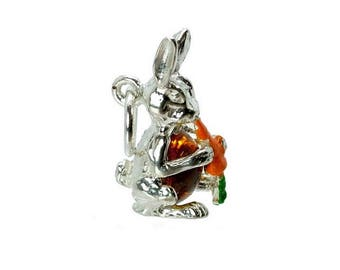 Sterling Silver Crystal Set Peter Rabbit Charm For Bracelets