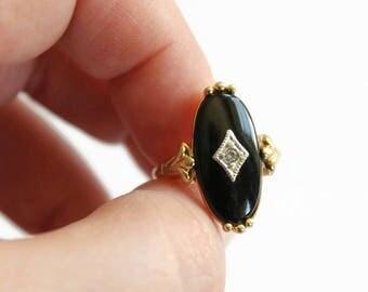 Vintage Black Stone Gold Ring with Rhinestone, Costume Jewelry, Avon Designer, Circa 1970's