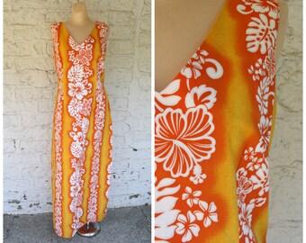 1970s Hawaiian Dress / Vintage Hawaii Dress / Tangerine Maxi Dress /  Hibiscus Floral Dress / 1970s Hawaiian Floral Maxi Dress  L