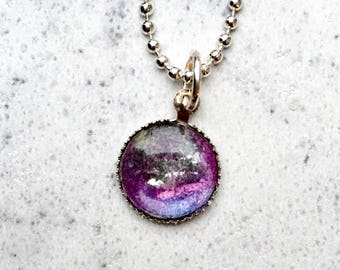 Amethyst Purple necklace made from original watercolor art, small pendant