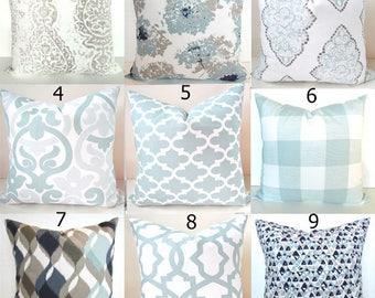 BLUE PILLOWS Spa Blue Throw Pillow Covers Blue Pillow Snowy Silver Blue Throw pillows  .All Sizes. 16x16 18 20 Spa Blue Pillows Home Decor