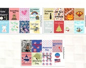 Yealy Holiday Full Box Stickers for your Planner, US Holidays, Independence Day