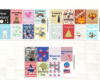 Yearly Holiday Full Box Stickers for your Planner, US Holidays, Independence Day