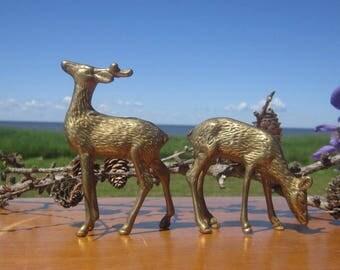 2 Brass Deer Buck and Doe Elk Cariboo Metal Brass Mid Century Modern Decor