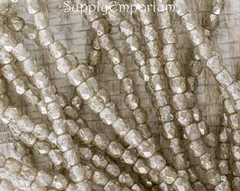 4mm Opal Ivory Mercury Fire Polished Round Czech Glass Beads, 50 Beads, Opal Ivory Mercury 4mm Firepolished Round Bead, 5184
