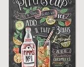 Pimm's Cup Recipe - Chalk Art - Summer Art - Cocktails - Hand Drawn - Illustration - Home Decor - Art Print - Recipe Print - For the Kitchen