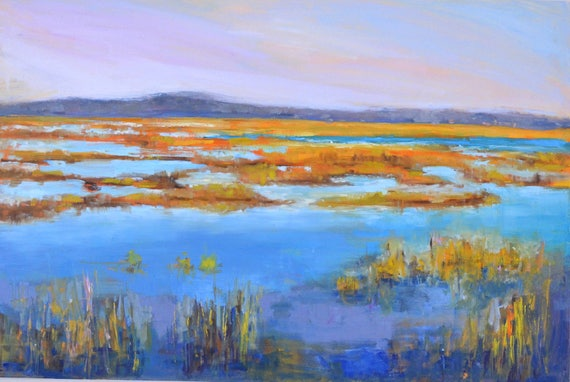 Marsh painting, Large landscape, Plum island, Marsh landscape, New England, 24 X 36, Original Oil painting, Horizontal, Dining room console