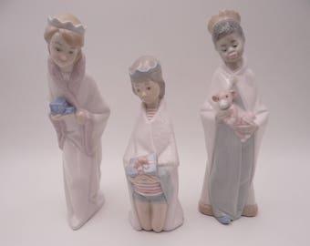 Superb Lladro Child Nativity Set Three Kings Figurines 4673 4674 4675