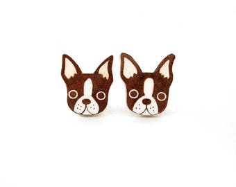 Red Brown Boston Terrier Shrink Plastic Earrings
