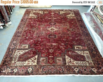 SUMMER CLEARANCE 1990s Hand-Knotted Vintage Heriz Gorovan Persian Rug (3243)