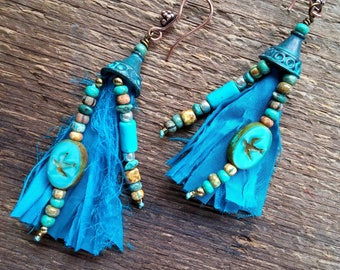 Sari Silk Earrings, Tassel Earrings, Gypsy Jewelry, Recycled Earrings, Silk Earrings, Fringe Earrings, Bohemian Jewelry