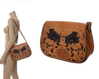 Vintage 60s 70s Hand Tooled Leather Bag 1960s 1970s Artisan Handmade Purse, Bohemian Flowers, Large Saddle Bag, Hippie Floral Handbag