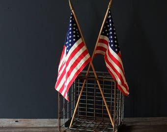 Vintage American Flag Waiving Pendant Pair