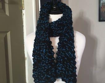 Black and Blue handmade knit scarf , chunky